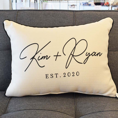 Couple's Name Established 2020 Rectangle Pillow - TheMississippiGiftCompany.com