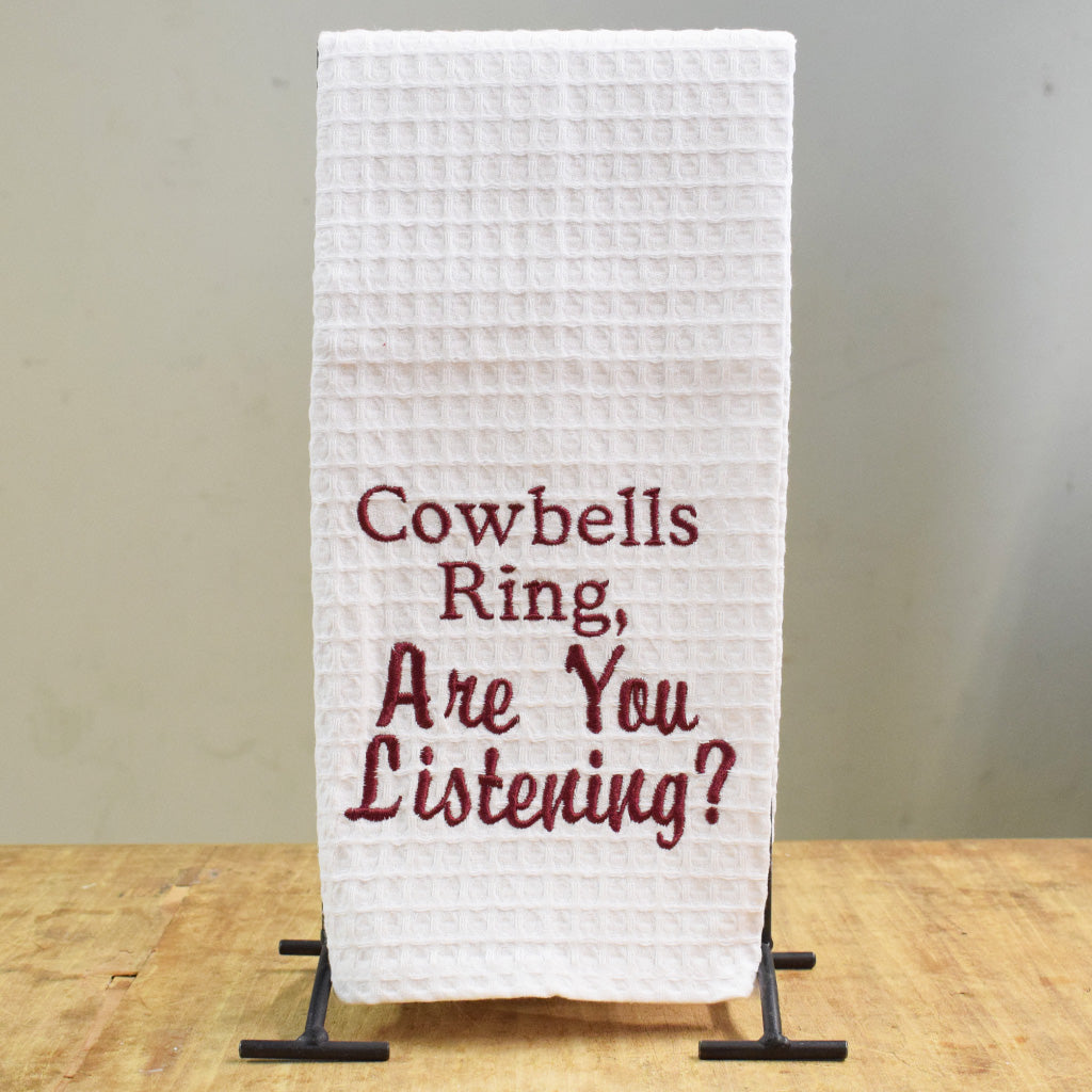 Applique Cowbells Ring Kitchen Towel - TheMississippiGiftCompany.com