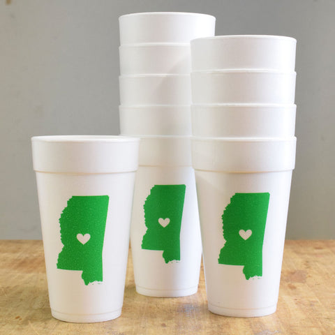 Mississippi with Heart Green and White Foam Cups - TheMississippiGiftCompany.com