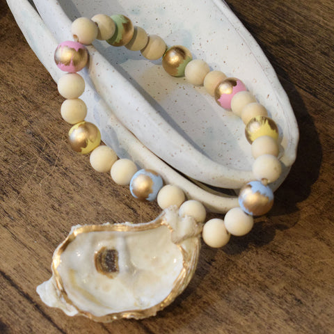 Spring Oyster Shell Blessing Beads
