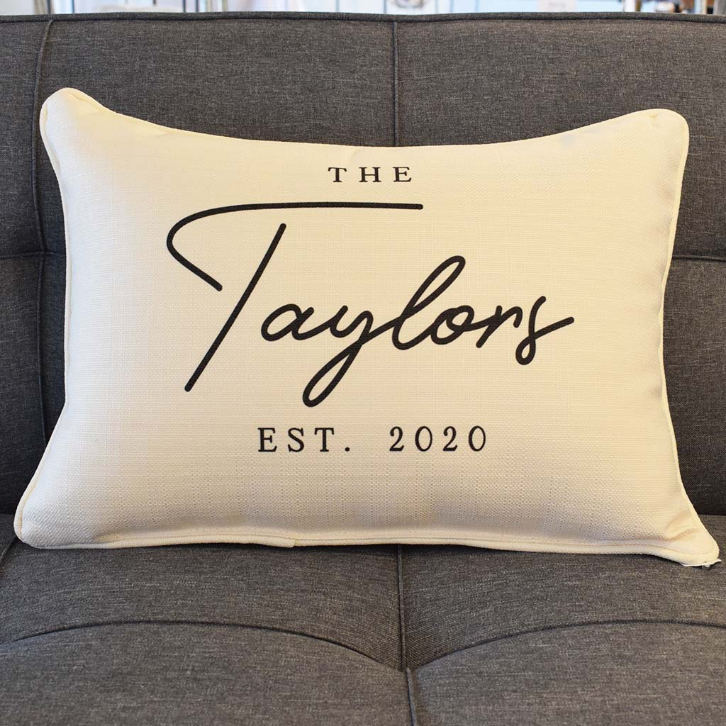 Family's Name Established 2020 Rectangle Pillow - TheMississippiGiftCompany.com