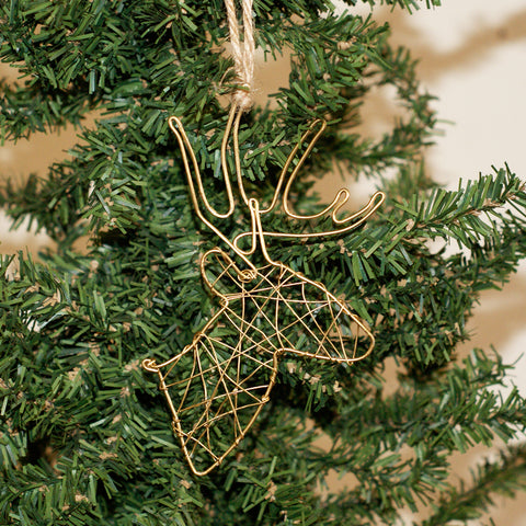 Wire Deer Ornament Gold - TheMississippiGiftCompany.com