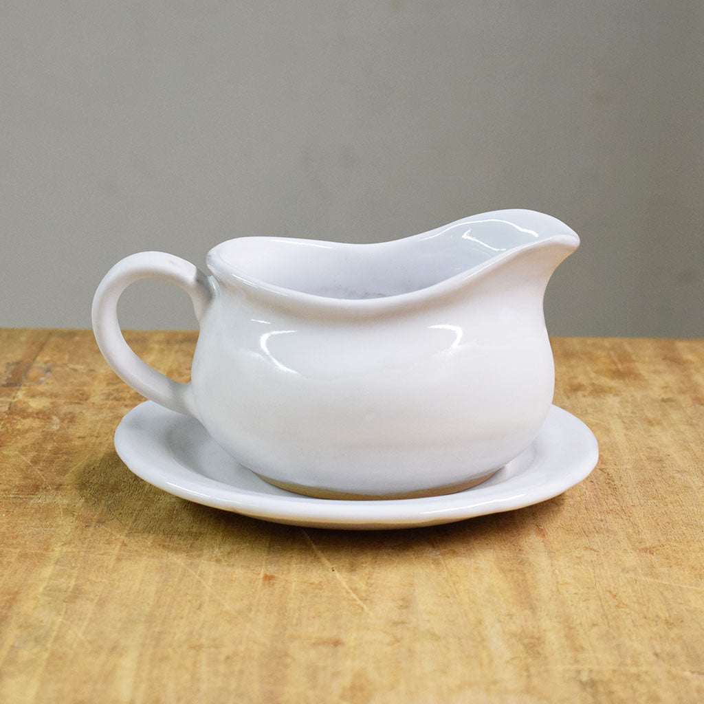 Gravy Boat/Saucer Set Simply White - TheMississippiGiftCompany.com
