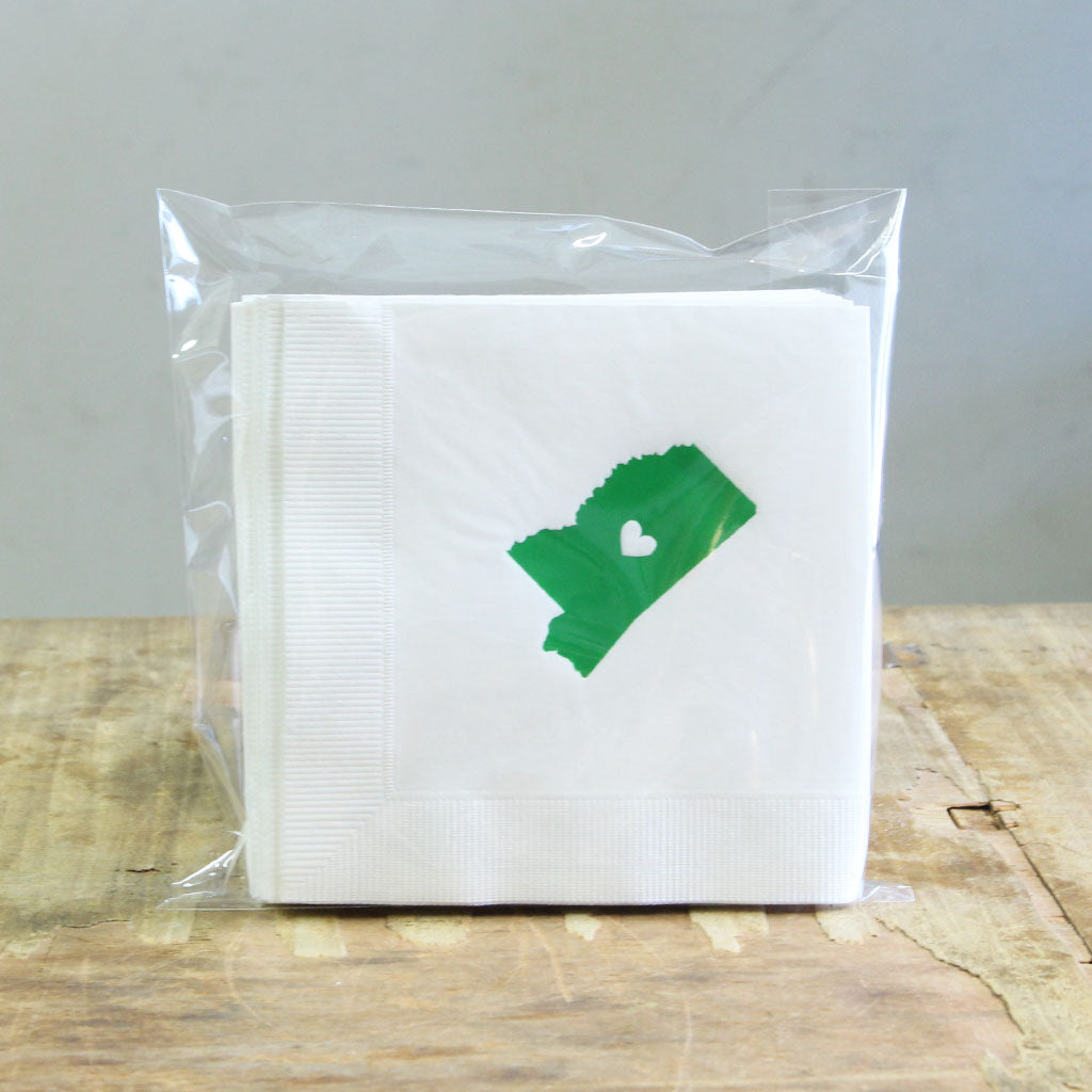Green Mississippi Beverage Napkins