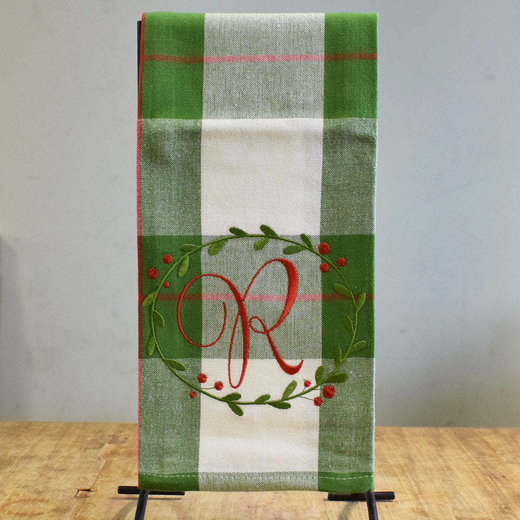 Green Plaid with Red Initial Towel
