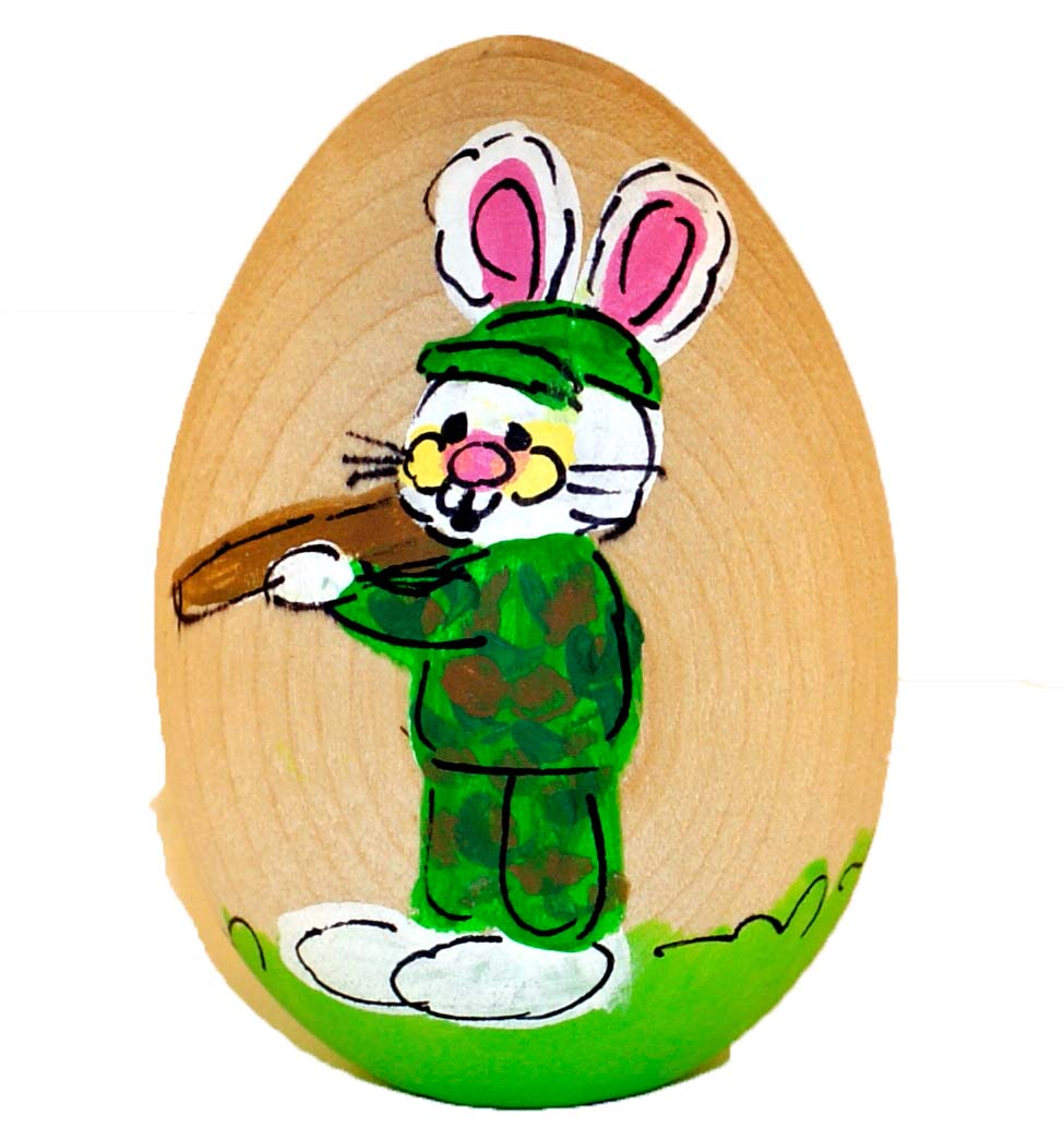 Hunter Hand Painted Wooden Easter Egg