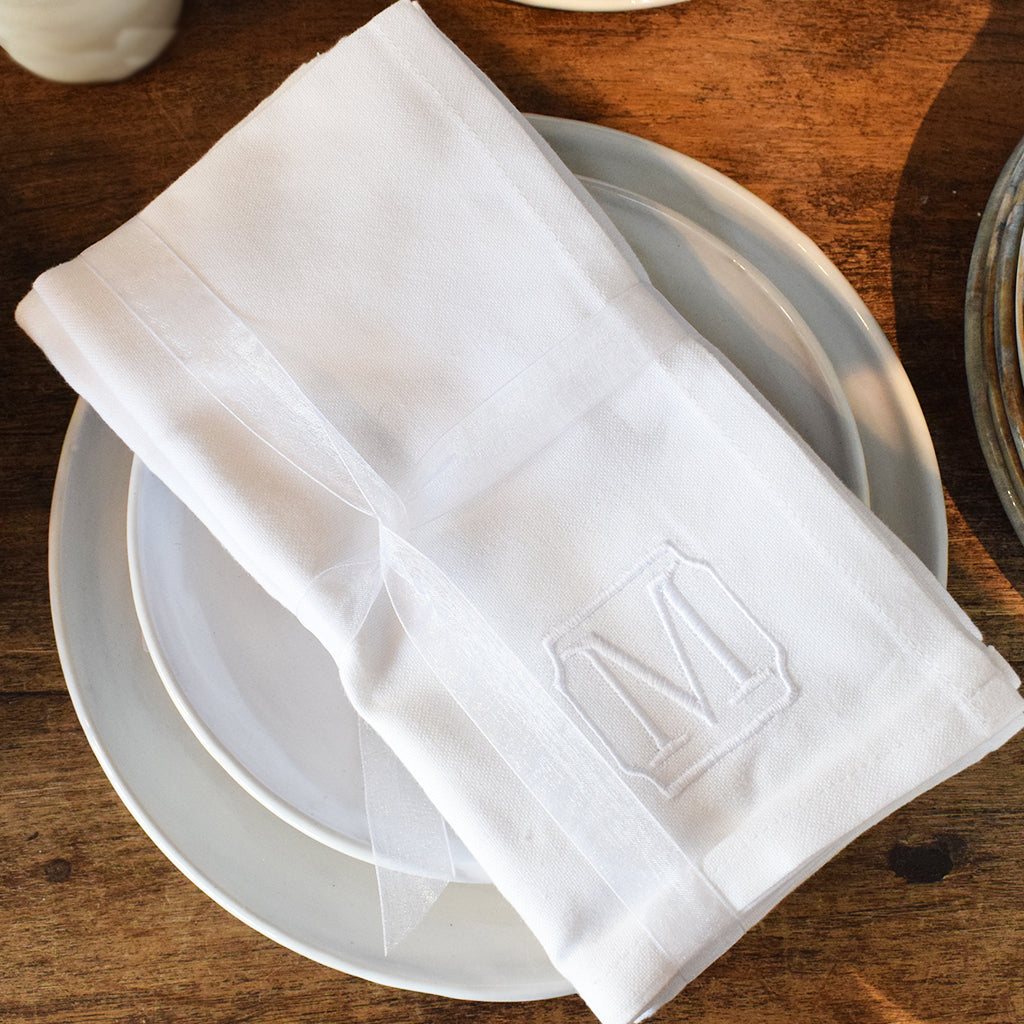 Set of 4 Monogrammed Dinner Napkins - TheMississippiGiftCompany.com