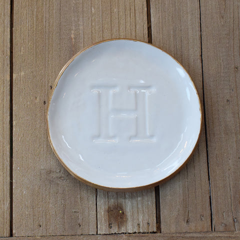 A Shelby Pottery Large Initial Ring Dish - TheMississippiGiftCompany.com