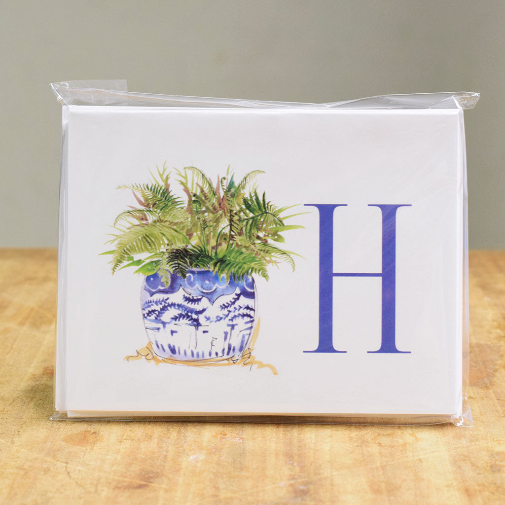 Initial Ginger Jar Notecard Set - TheMississippiGiftCompany.com