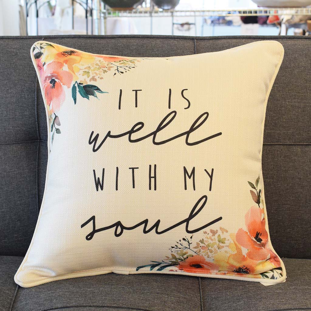 It Is Well Peachy Corners Square Pillow - TheMississippiGiftCompany.com