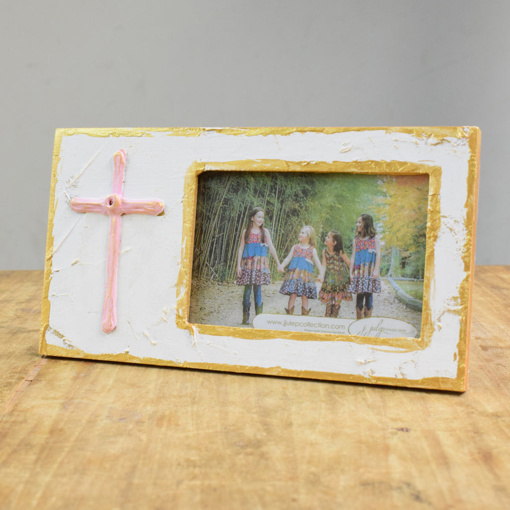 4x6 Cross Frame Pink - TheMississippiGiftCompany.com