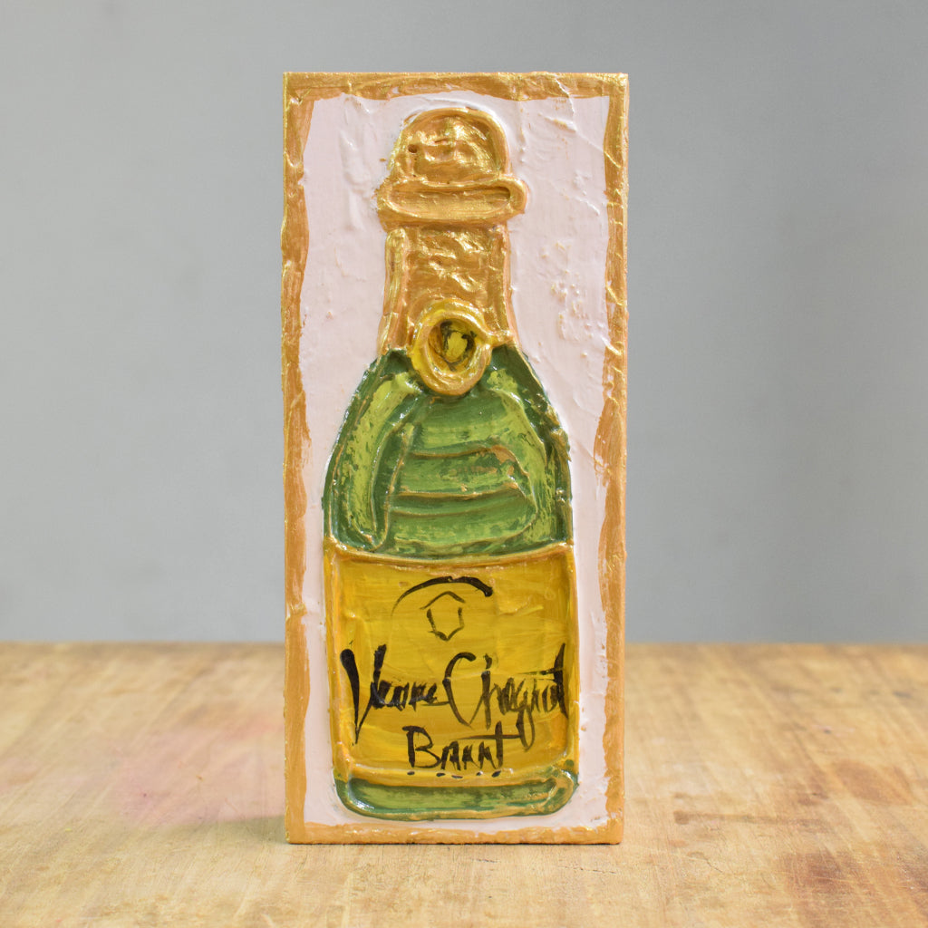 4x8 Wood Block- Champagne Bottle - TheMississippiGiftCompany.com