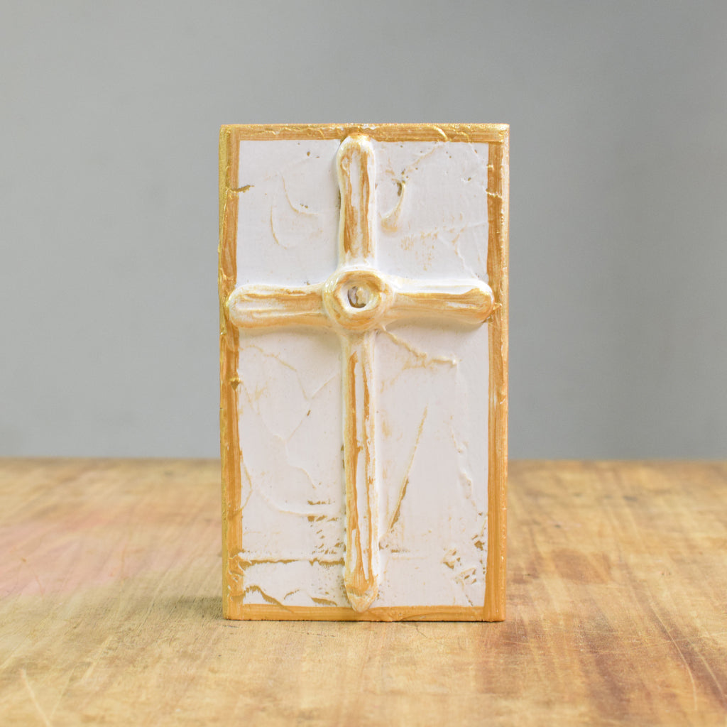 4x6 Wood Block Cross-White - TheMississippiGiftCompany.com