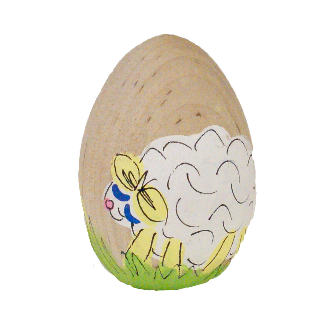 Lamb Hand Painted Wooden Easter Egg