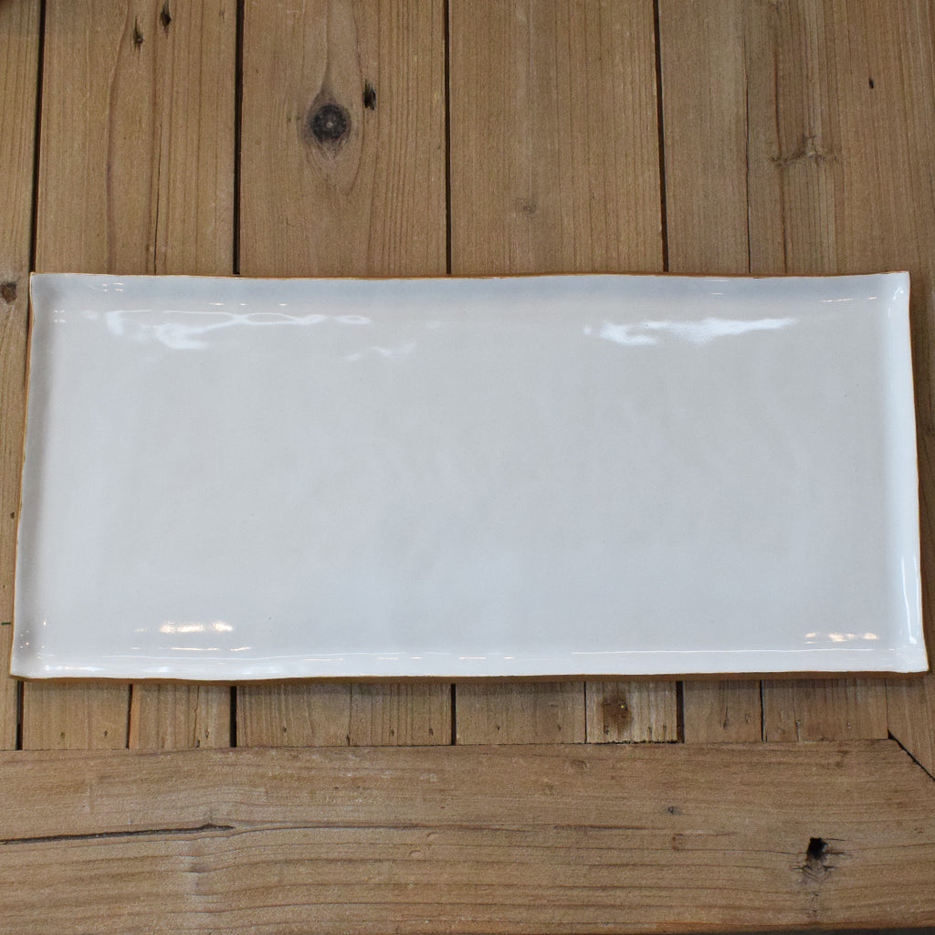 Gold and White Large Rectangle Platter - TheMississippiGiftCompany.com