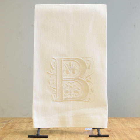 Linen Embroidery Initial Towel