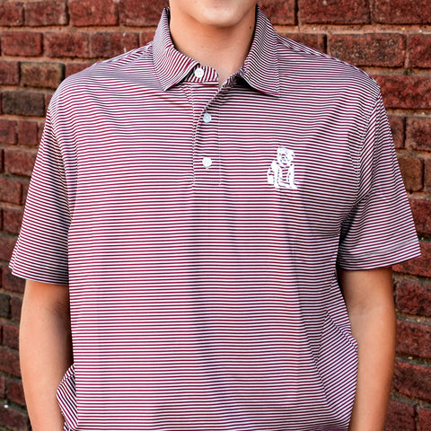 MSU High Quality Performance Polo-Maroon Stripe - TheMississippiGiftCompany.com