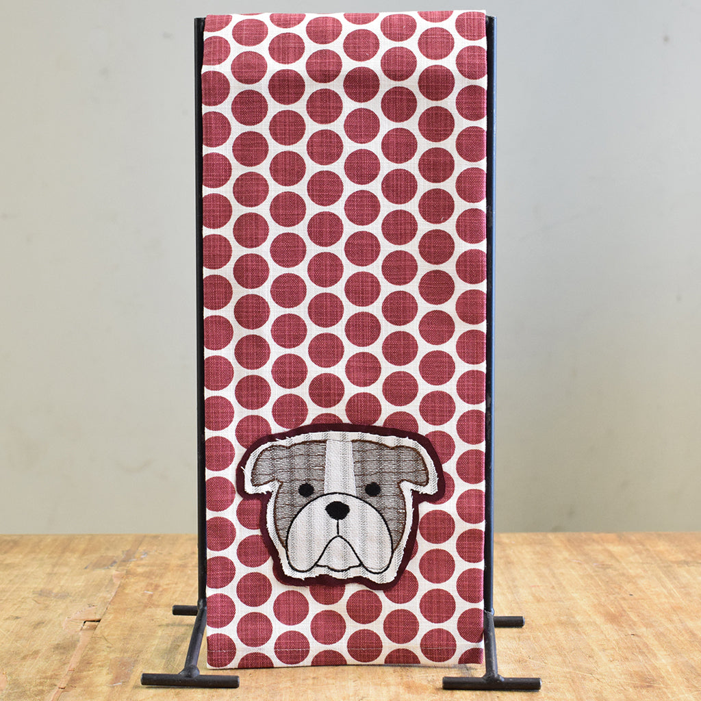 Bulldog Head Applique Hand Towel - TheMississippiGiftCompany.com