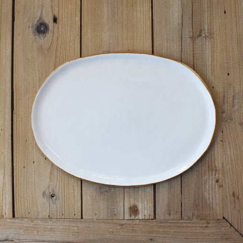 Gold and White  Medium Oval Platter - TheMississippiGiftCompany.com