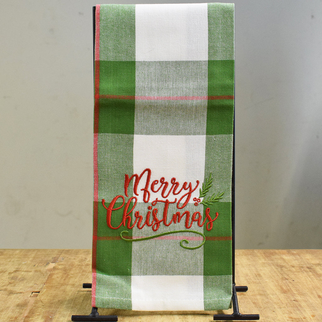 Green Plaid Merry Christmas Hand Towel