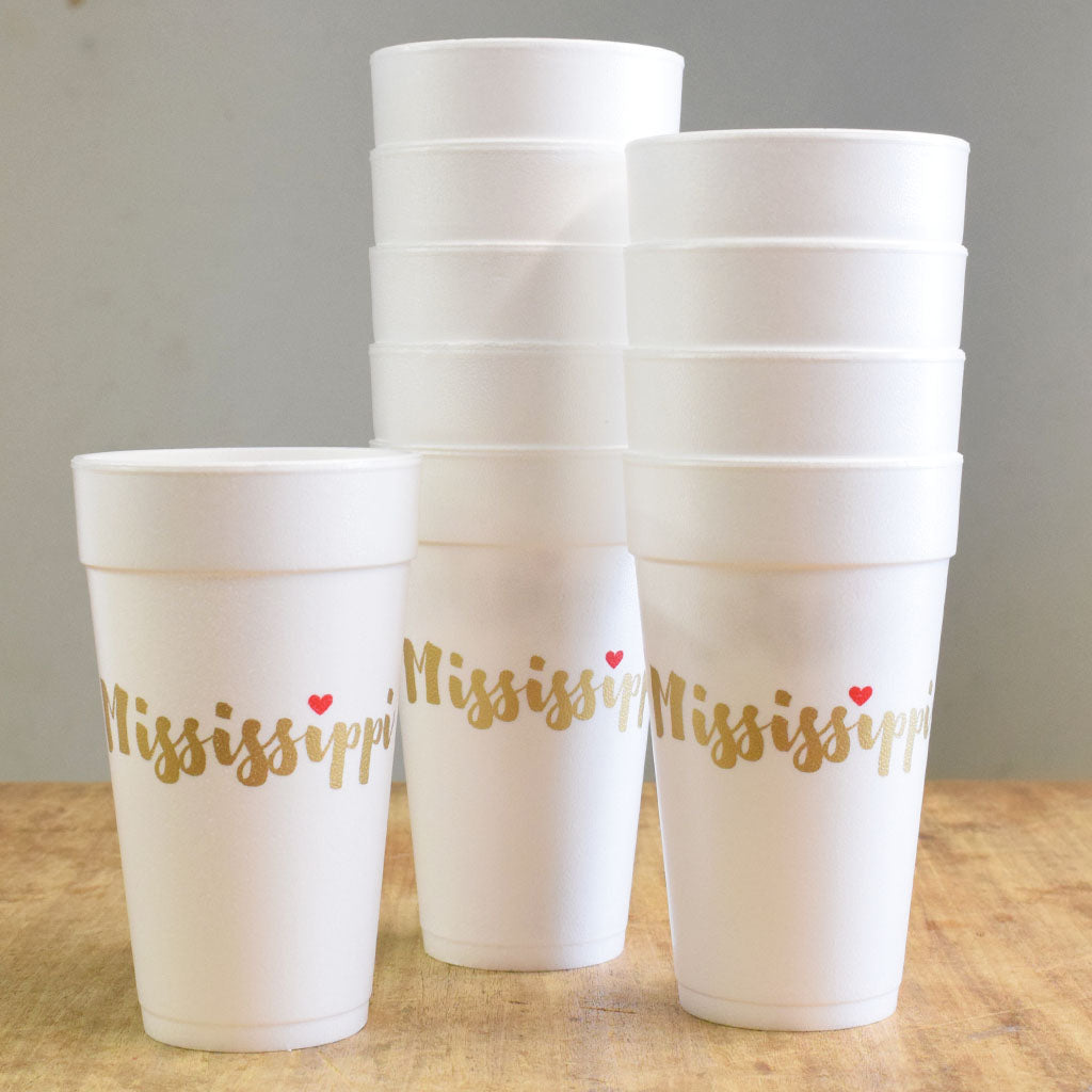 Love Mississippi Foam Cups - TheMississippiGiftCompany.com