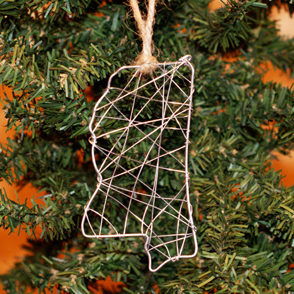 Wire Mississippi Ornament - TheMississippiGiftCompany.com