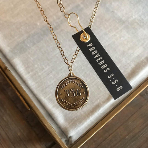Proverbs 3:5-6  Bronze Pendant Necklace