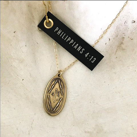 Phillipians 4:13 Bronze Pendant Necklace