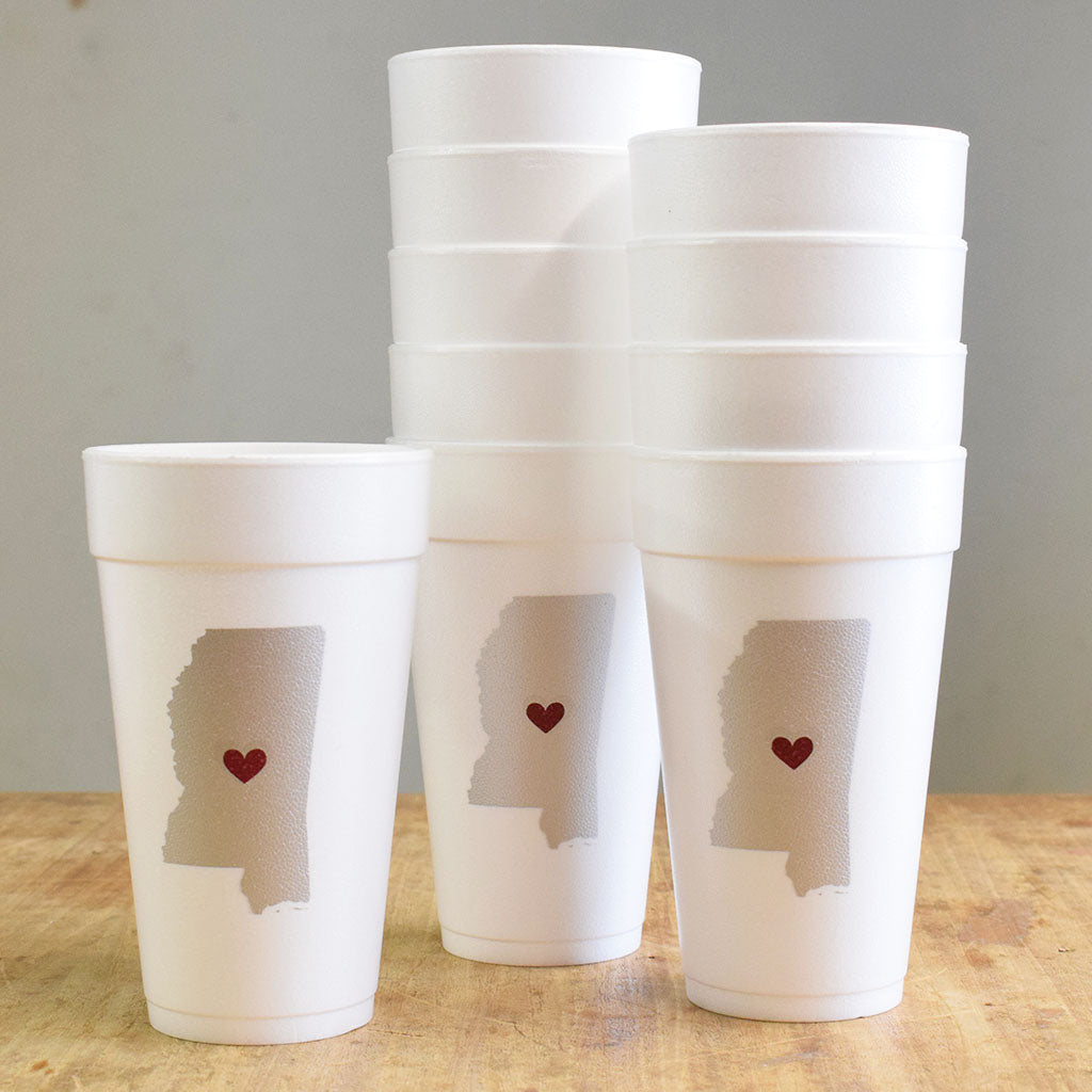Mississippi with Heart Gray with Maroon Foam Cups - TheMississippiGiftCompany.com