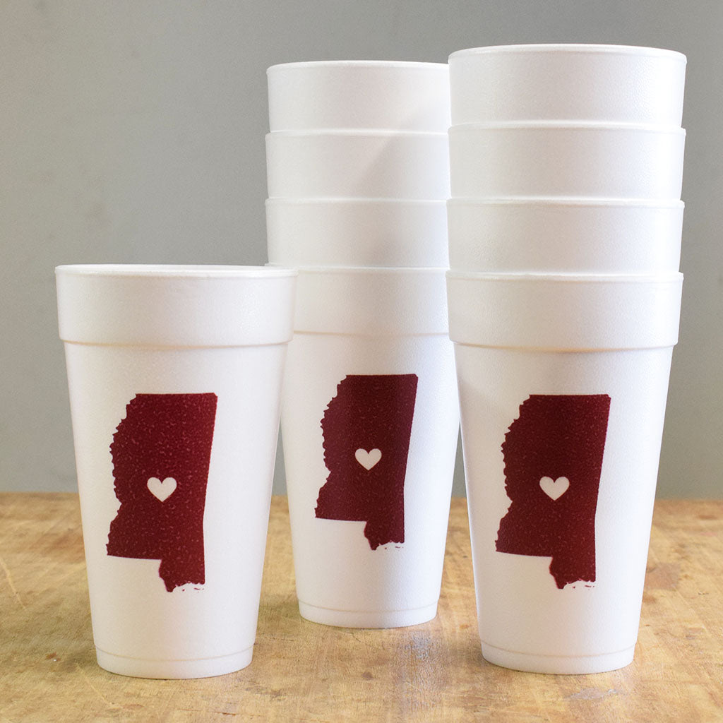 Mississippi with Heart Maroon Foam Cups - TheMississippiGiftCompany.com