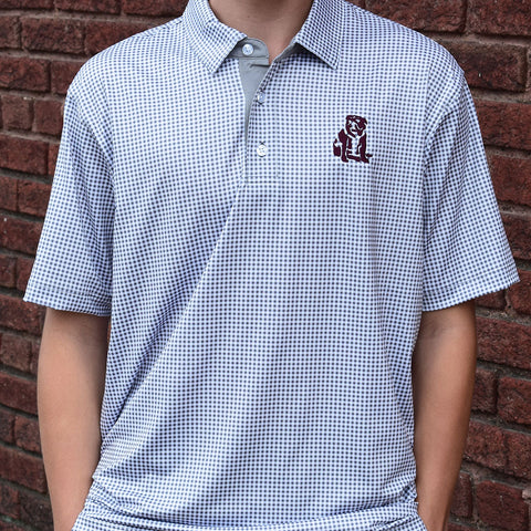 MSU High Quality Performance Polo-Gray Check - TheMississippiGiftCompany.com