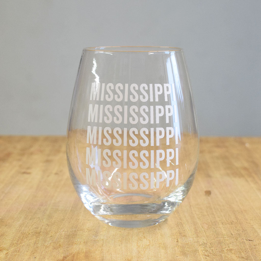 Mississippi Stemless Wine Glass