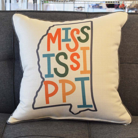 Multi Letter Pressed State Square Pillow - TheMississippiGiftCompany.com