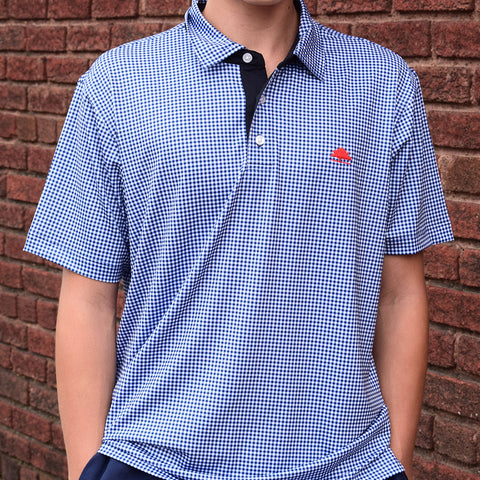 Ole Miss High Quality Performance Polo-Navy Check - TheMississippiGiftCompany.com