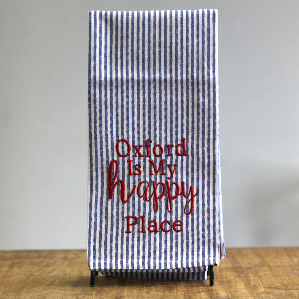 Oxford is my Happy Place Embroidered Hand Towel - TheMississippiGiftCompany.com