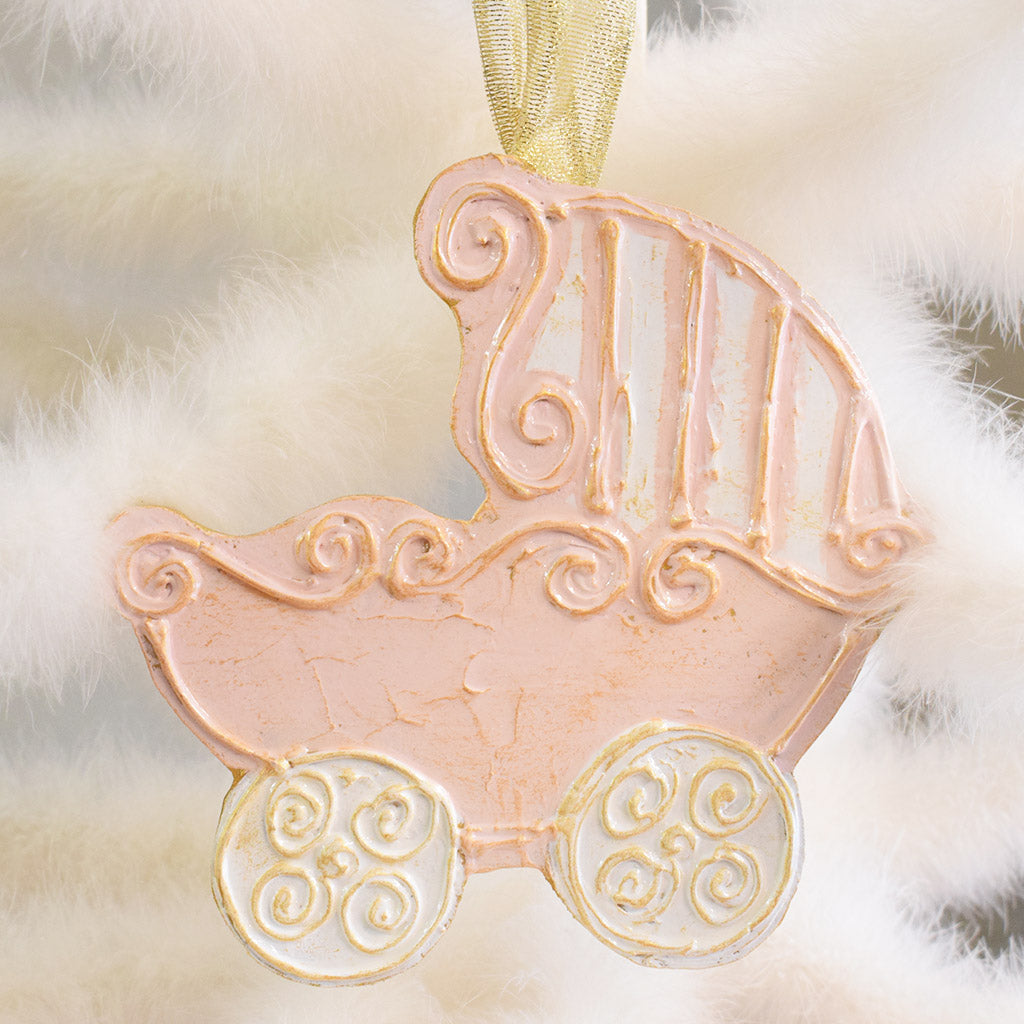Wooden Baby Carriage Ornament-Pink