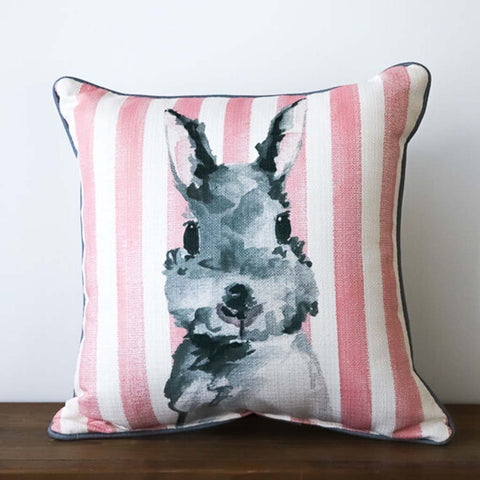 Pink Stripe Bunny Square Pillow - TheMississippiGiftCompany.com