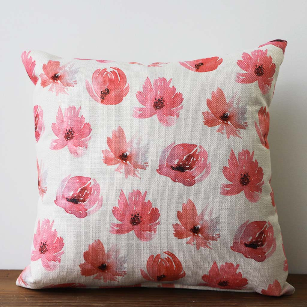 Pink Peony Pattern Square Pillow - TheMississippiGiftCompany.com