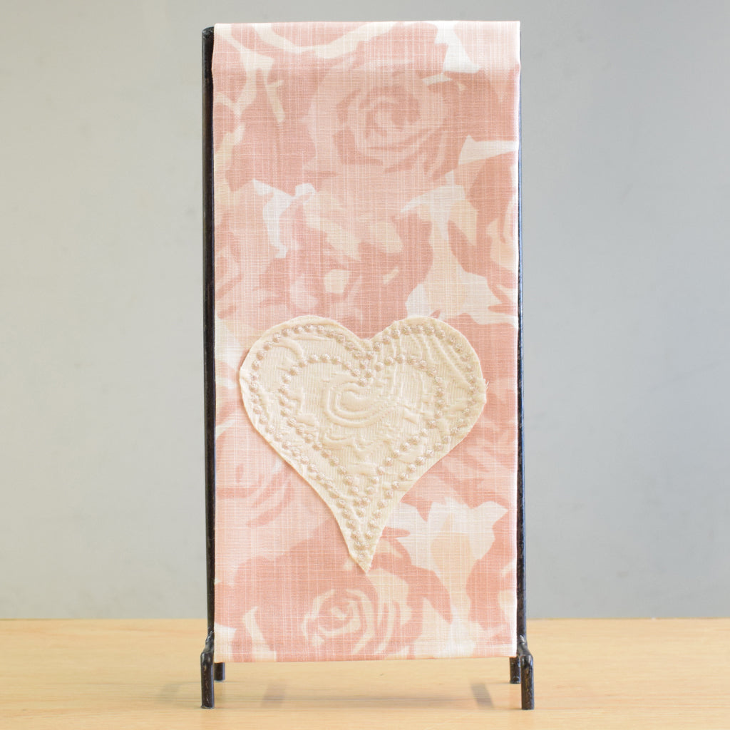Pink Roses Hearts Towel