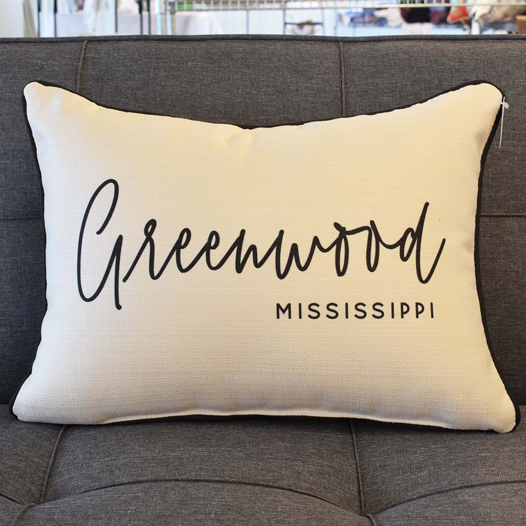 Pinot Script City and State Rectangle Pillow - TheMississippiGiftCompany.com