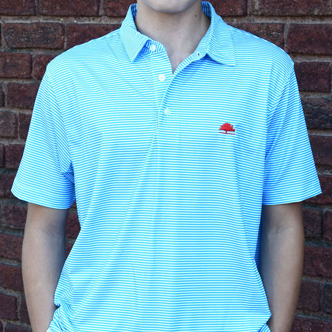 Ole Miss High Quality Performance Polo-Powder Blue Stripe