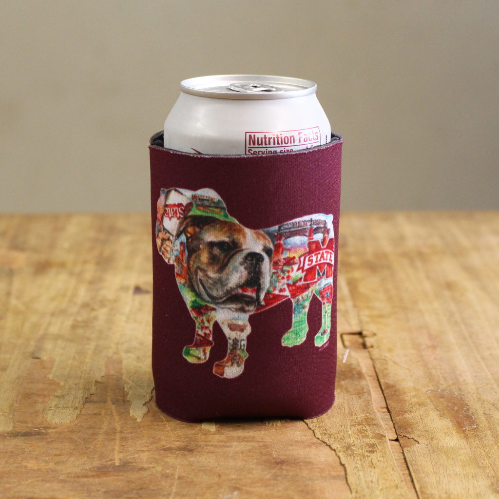Bulldog Collage Koozie