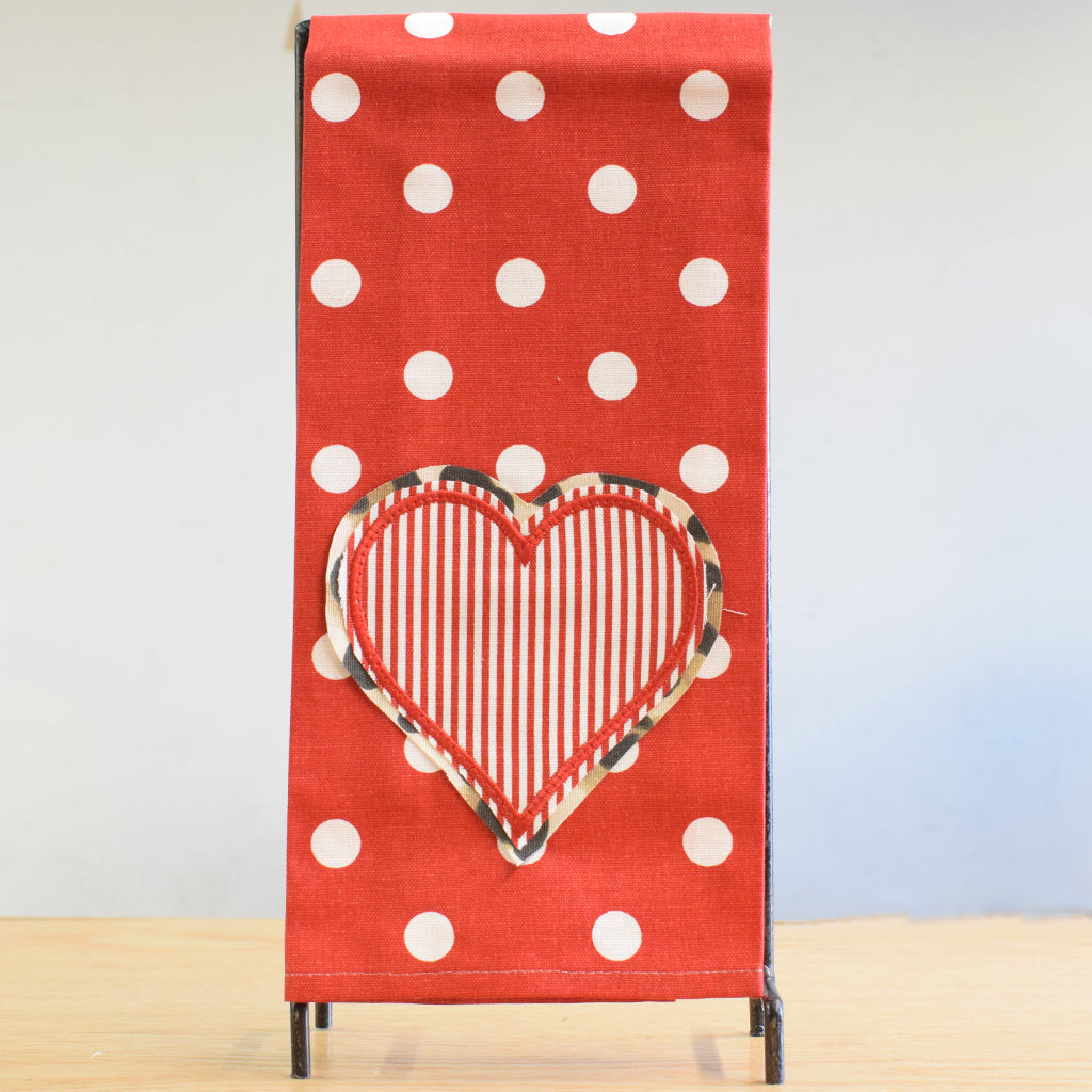 Red Dots Hearts Towel