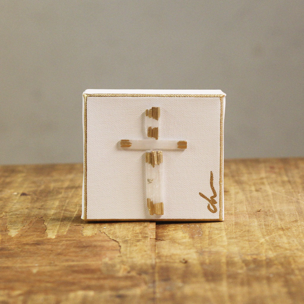 4x4 Selenite Cross Gold Plain