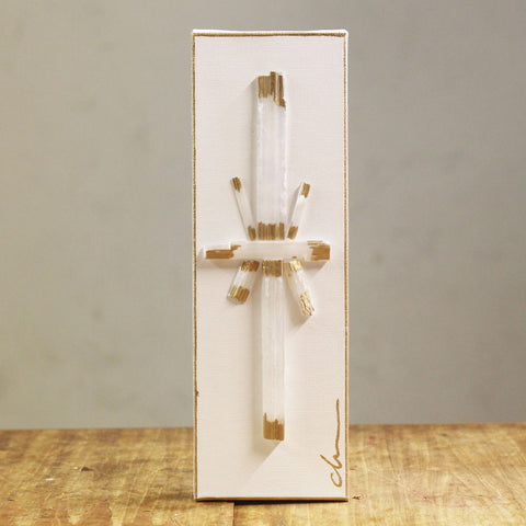 4x12 Selenite Cross Gold