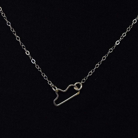 Mini Floating Mississippi Necklace Silver