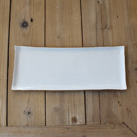 Gold and White  Small Rectangle Platter - TheMississippiGiftCompany.com