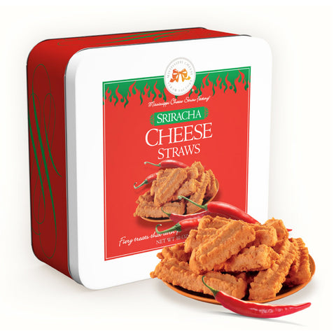 Sriracha Cheese Straws Tin 10 oz. - TheMississippiGiftCompany.com