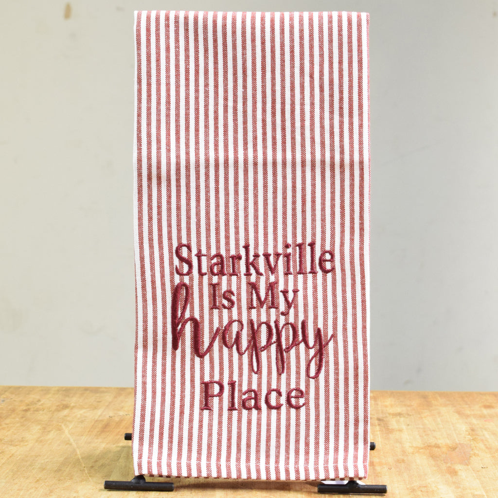 Starkville is my Happy Place Embroidered Hand Towel - TheMississippiGiftCompany.com