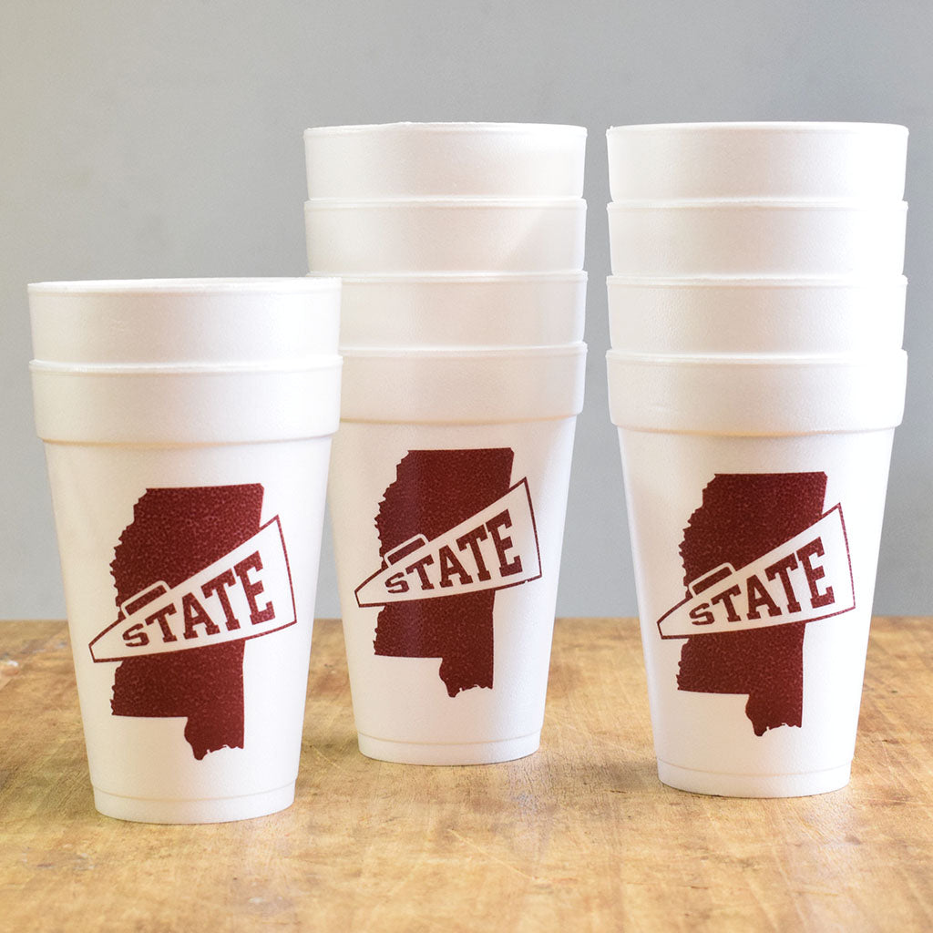 State Megaphone Foam Cups - TheMississippiGiftCompany.com